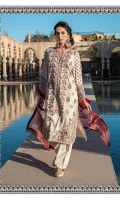 -Embroidered front -Embroidered border patti -Printed back and sleeves -Printed chiffon dupatta -Plain dyed trouser