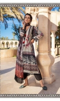 -Printed front, back and sleeves -Embroidered border patti -Printed chiffon dupatta -Plain dyed trouser