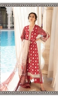 -Embroidered front -Printed back and sleeves -Printed chiffon dupatta -Plain dyed trouser