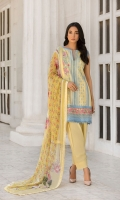 Embroidered Front Printed back and sleeves  Dyed trouser Printed blend chiffon dupatta  Embroidered border Embroidered patches 
