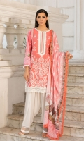 Embroidered Front Printed back and sleeves  Dyed trouser Printed Lawn dupatta  Embroidered border 