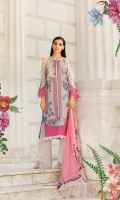 Printed lawn front back and sleeves  Dyed trouser  Printed crinkle chiffon dupatta  Embroidered patches 