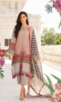 Printed lawn front back and sleeves  Dyed trouser  Printed crinkle chiffon dupatta  Embroidered neckline  Embroidered patti