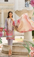 Printed lawn front back and sleeves  Dyed trouser  Printed Lawn dupatta  Embroidered neckline patches  Embroidered trouser patch 