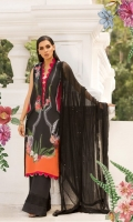 Printed lawn front back and sleeves  Dyed trouser  Printed crinkle chiffon dupatta  Embroidered neckline patches 