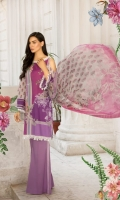 Printed lawn front back and sleeves  Dyed trouser  Printed crinkle chiffon dupatta  Embroidered neckline  Embroidered patches 