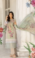 Printed lawn front back and sleeves  Dyed trouser Printed crinkle chiffon dupatta  Embroidered Patti Embroidered patches 