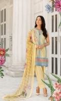 Embroidered Front Printed back and sleeves  Dyed trouser Printed crinkle chiffon dupatta  Embroidered border Embroidered patches  