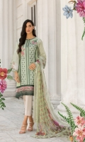 Embroidered Front  Printed back and sleeves  Dyed trouser  Printed crinkle chiffon dupatta  Embroidered border  Embroidered Patch