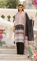 Printed lawn front back and sleeves  Dyed trouser  Printed lawn dupatta  Embroidered border  Embroidered patti 