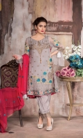 Embroidered Chiffon Front : 0.66 Meter Embroidered Chiffon Back : 1 Meter Embroidered Side Panels : 0.3 Meter Embroidered Front/Back Lace : 1.7 Meter Embroidered Sleeve Patch : 2 pcs Embroidered chiffon Dupatta : 2.5 Meters Raw Silk Trouser : 2.5 Meters Embroidered Trouser Lace : 1 Meter