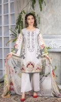 Embroidered  Printed Lawn shirt : 3 Mtrs  Daman Patch : 1 pc  Chiffon printed dupatta : 2.5 Yards  Cotton Trouser : 2.5 Yards