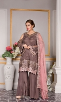 EMBROIDERED CHIFFON FRONT 0.85 yards EMBROIDERED NECK PATCH 1 pc EMBROIDERED FRONT LACE 0.83 yards EMBROIDERED CHIFFON BACK 0.85 yards EMBROIDERED BACK LACE 0.66 yards EMBROIDERED CHIFFON SLEEVES 0.66 yards EMBROIDERED CHIFFON DUPATTA 2.5 yards RAW SILK TROUSER 2.5 yards