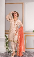 EMBROIDERED CHIFFON FRONT 0.83 yards s EMBROIDERED NECK PATCH 1.97 yards  EMBROIDERED CHIFFON BACK 0.83 yards  EMBROIDERED CHIFFON SLEEVES 0.66 yards  EMBROIDERED CHIFFON DUPATTA 2.6 yards  RAW SILK TROUSER 2.5 yards  EMBROIDERED TROUSER PATCH 2 pc