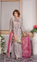 EMBROIDERED CHIFFON FRONT 0.83 yards EMBROIDERED FRONT PATCH 0.97 yards EMBROIDERED CHIFFON BACK 0.83 yards EMBROIDERED BACK PATCH 0.97 yards EMBROIDERED CHIFFON SLEEVES 0.66 yards EMBROIDERED CHIFFON DUPATTA 2.5 yards Raw Silk Trouser : 2.5 yards