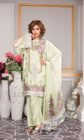 EMBROIDERED CHIFFON FRONT 0.83 yards EMBROIDERED FRONT PATCH 0.90 yard:s EMBROIDERED CHIFFON BACK 0.83 yards EMBROIDERED BACK LACE 0.90 yards EMBROIDERED CHIFFON SLEEVES 0.66 yards EMBROIDERED SLEEVES LACE 0.88 yards EMBROIDERED CHIFFON DUPATTA 2.5 yards 2.5 yards RAW SILK TROUSER 2.5 yards