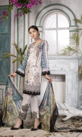 Emb Lawn Shirt : 3.38 Yards  Chiffon Dupatta : 2.5 Yards Cotton Trouser ( EMB PATCHES) : 2.5 Yards