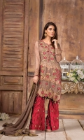 Embroidered Chiffon Front : 1 Yard Embroidered Chiffon Back : 1 Yard Embroidered Patch : 1 Piece Embroidered Chiffon Duptta : 2.5 Yards Embroidered Sleeves : 0.7 yard Embroidered Laces : 2 Yards Embroidered Raw Silk Trouser : 2.5 Yards