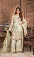 Embroidered Chiffon Front : 1 Yard Embroidered Chiffon Back : 1 Yard Embroidered Trouser Patch : 2 Pieces Embroidered Chiffon Duptta : 2.5 Yards Embroidered Sleeves : 0.7 yard Raw Silk Trouser : 2.5 Yards Embroidered Lace : 2 Yards Embroidered Patch : 1 Piece