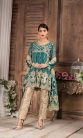 Embroidered Chiffon Front Chest : 0.7 Yard Embroidered Chiffon Back Chest : 0.7 Yard Embroidered Net Duptta : 2.5 Yards Embroidered Sleeves : 0.7 yard Embroidered Jamawar Trouser : 2.5 Yards Front Penals : 6 Pieces Back Penals : 6 Pieces
