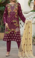Shirt: Embroidered Lawn  Dupatta: Emb Chiffon. Dyed Trouser.