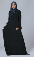 Formal Crepe Stitched Abaya Black pearl Black