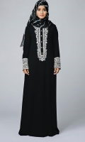 Formal Crepe Stitched Abaya Picasso Black