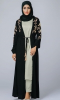 Formal Crepe Stitched Abaya Bronzite Black