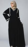 Formal Crepe Stitched Abaya Tahtian Pearl Black