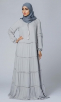 Formal Crepe Stitched Abaya Dove Grey