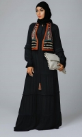 Formal Marina Stitched Abaya Ornate Coaty Black