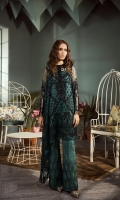 Shirt Fabric: Net *Front Embroidered Neckline - One Piece *Embroidered Front - 1.25 Meters *Embroidered Back - 1.25 Meters *Embroidered Border - 1.8288 Meters *Embroidered Sleeves - 0.65 Meters *Cotton Silk Dyed Slip - 0.9 Meters *Embroidered Silk Dyed Trousers - 2.50 Meters *Heat Set Dupatta - 2.50 Meters