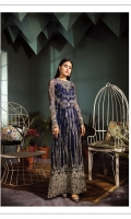 Shirt Fabric: Net *Front Body - 2pieces * Embroidered Front - 1.8288 Meters * Back Embroidered Back - 1.8288 Meters * Heat Set Dupatta - 2.50 Meters * Embroidered Sleeves - 0.65 Meters  * Cotton Silk Dyed Slip - 0.9 Meters * Silk Dyed Trousers - 2.50 Meters