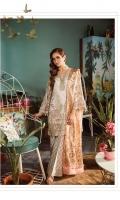 Shirt Fabric: Net Dupatta Fabric: Net *Screen Print Foil Dupatta (Net) - 2.50 Meters *Embroidered Front - 1.25 Meters *Embroidered Shirt Back - 1.25 Meters *Embroidered Front Border - 0.762 Meters *Embroidered Sleeves - 0.65 Meters *Silk Screen Printed Dyed Trousers - 2.50 Meters *Cotton Silk Dyed Slip - 0.9 Meters