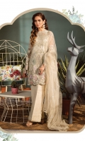 Shirt Fabric: Net Dupatta Fabric: Net *Front Embroidered Neckline - One Piece *Embroidered Front - 1.25 Meters *Embroidered Shirt Back - 1.25 Meters *Embroidered Sleeves - 0.65 Meters *Cotton Silk Dyed Slip - 0.9 Meters *Silk Dyed Trousers - 2.50 Meters *Heat Set Dupatta - 2.50 Meters