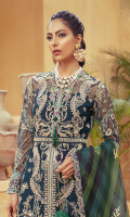 Embroidered / Embellished Front Upper Net Patch Left & Right 02 pc Embroidered / Embellished Front Lower Net Patch Left & Right 02 pc Embroidered Back 1.25 Meter Embroidered Back Border .75 Meter Embroidered Back Net Patch Left & Right 02 pc Embroidered / Embellished Sleeves 2Pc Foil / Digital Printed Organza Dupatta 2.5 Meter Embroidered Dupatta Border 7.5 Meter Raw Silk Slip 2.25 Meter Raw Silk Trouser 2.5 Meter Embroidered / Embellished Belt 1Pc