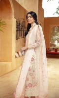 Embroidered / Embellished Front Upper Organza Patch Left & Right 02 pc Embroidered / Embellished Front Side Patti 02 pc Embroidered / Embellished Front Lower Organza Patch Left & Right 02 pc Embroidered Back 1.25 Meter Embroidered Back Border 1 pc Embroidered / Embellished Sleeves 02 Pc Embroidered Dupatta Organza 2.5 Meter Embroidered Dupatta Border 7.5 Meter Raw Silk Slip 2.25 Meter Raw Silk Trouser 2.5 Meter