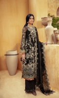 Embroidered / Embellished Front Center Panel 01 pc Embroidered / Embellished Front Side Panel Left & Right 02 pc Embroidered / Embellished Front Border 01 pc Embroidered Back 01 Meter Embroidered Back Border 1pc Embroidered / Embellished Sleeves 2Pc Embroidered / Embellished Sleeves Border 01 Meter Flock Printed Organza Dupatta 2.5 Meter Embroidered Dupatta Border 7.5 Meter Slip Fabric Raw Silk 2.25 Meter Raw Silk Trouser 2.5 Meter Emb Trouser Patch 1.25 Meter