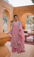 Embroidered / Embellished Front Center Panel 01 pc Embroidered / Embellished Front Side Panel Left & Right 02 pc Embroidered / Embellished Front Lower Patch Left & Right 02 pc Embroidered Back 01 Meter Embroidered Back Border 1pc Front & Back Laser Cut Border 02 pc Embroidered / Embellished Sleeves 2Pc Laser Cut Sleeves Border .95 Meter Embroidered Dupatta Border 7.5 Meter Foil Printed Organza Dupatta 2.5 Meter Raw Silk Slip 2.25 Meter Embroidered Trouser Patch 1.25 Meter Raw Silk Trouser 2.5 Meter