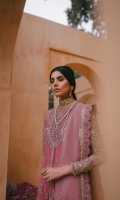 Embroidered / Embellished Neck Line Patch A Embroidered / Embellished Neck Line Patch B Front / Back Spray .75 Meter Embroidered / Embellished Front Panel 6 Pc Embroidered Back Panel 6 Pc Embroidered / Embellished Front Open Patti 2.5 Meter Embroidered / Embellished Sleeves 2Pc Dyed / Foil Printed Organza Dupatta 2.5 Meter Embroidered Dupatta Border 7.5 Meter Raw Silk Slip 2.25 Meter Raw Silk Trouser 2.5 Meter