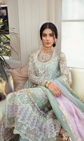 EMBROIDERED AND INTRICATELY HAND EMBELLISHED ORGANZA SHIRT RAW SILK SLIP ORGANZA DUPATTA WITH CHATTA PATTI AND GOLD PRINT FINISHING EMBROIDERED RAW SILK PANTS