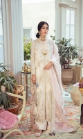 HAND WOVEN WHITE SILK COTTON SHIRT BEJEWELED WITH EMBROIDERED AND HAND EMBELLISHED FLORAL ARCHES AND GARLANDS RAW SILK SLIP DUPATTA WITH EMBROIDERED BORDER AND ORGANZA FINISHING FLARED RAW SILK PANTS WITH GOLD FOIL PRINTING