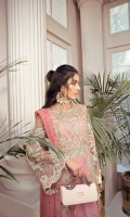 PINK NET SHIRT WITH EMBROIDERY AND HAND EMBELLISHMENT RAW SILK SLIP CRYSTAL LADEN NET DUPATTA FINISHED WITH LEAFY TASSELS RAW SILK PANTS HAND EMBELLISHED BELT