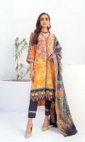 Shirt: Digital Printed Cotton Satin Dupatta: Digital Printed Lawn Trouser: Dyed Cotton