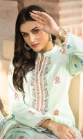Shirt Front 1.20 Mtr, S  hirt Back 1.70 Mtr,  Sleeves from back,  Trouser 2.50 Mtr,  Embroidered Contrast Organza Jacquard Dupatta
