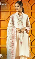 -Lawn Shirt Front 1.2 Mtr  -Lawn Shirt Back 1.25 Mtr  -Lawn Trouser 2.5 Mtr  -Sleeves 0.65 Mtr  -Embroidered Crinkle Dupatta