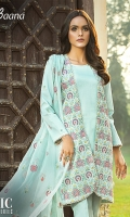 -Lawn Shirt Front 1.15 Mtr  -Lawn Shirt Back 1.75 Mtrr  -Lawn Trouser 2.5 Mtr  -Sleeves from back  -Embroidered Crinkle Dupatta