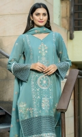 Dupatta:    Crinkle, 2.5 Meters Shirt Front:   1+1 Yad Daman, Embroidered Shirt Back:    1.75 Meters  Trousers:        2.5 Meters