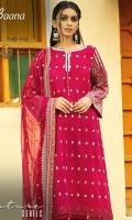 -Lawn Shirt Front 1.15 Mtr  -Lawn Shirt Back 1.25 Mtr  -Lawn Trouser 2.5 Mtr  -Sleeves 0.65 Mtr  -Embroidered Crinkle Dupatta