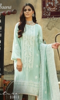 -Lawn Jacquard Shirt Front 1 Mtr  -Lawn Jacquard Shirt Back 1.75 Mtr  -Lawn Jacquard Trouser 2.5 Mtr  -Sleeves from back  -Embroidered Crinkle Dupatta